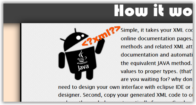 XML to JAVA website